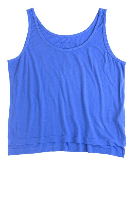 Cotton and Linen Wide Tank Top Royal Blue by Private0204-S