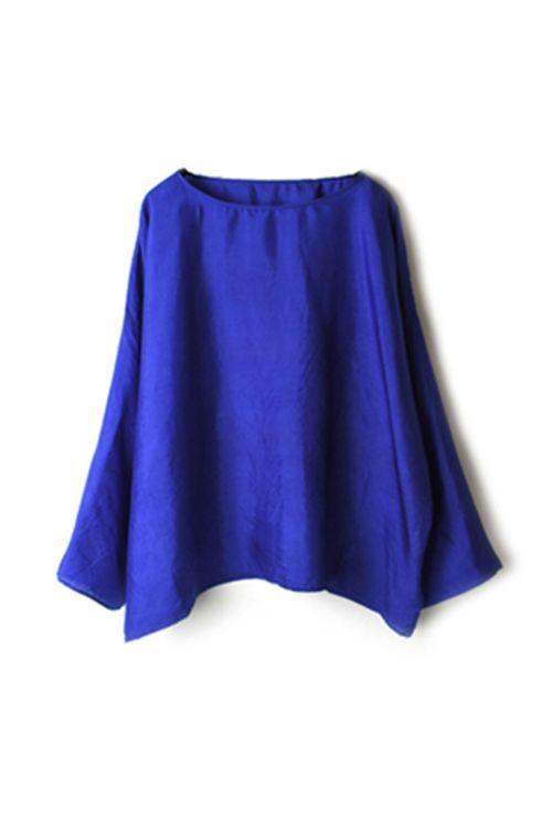 Silk Drop Shoulder Smock Blue by Maison de Soil