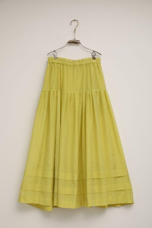 Cotton and Silk Skirt Sandrine Yellow by Ecole de Curiosites-S