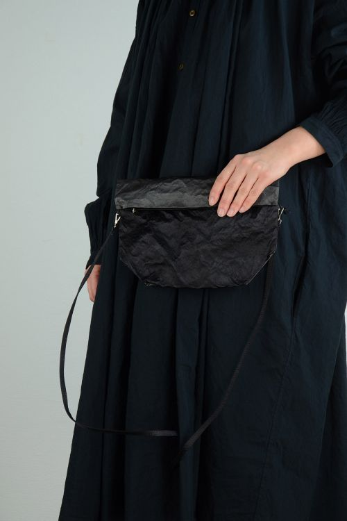Satin Bicolored Shoulder Bag Anthracite and Black by Zilla-TU