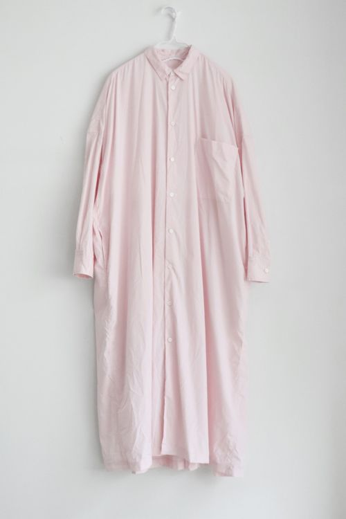 Back Wide Pleated Shirt Dress Soft Pink by Toujours