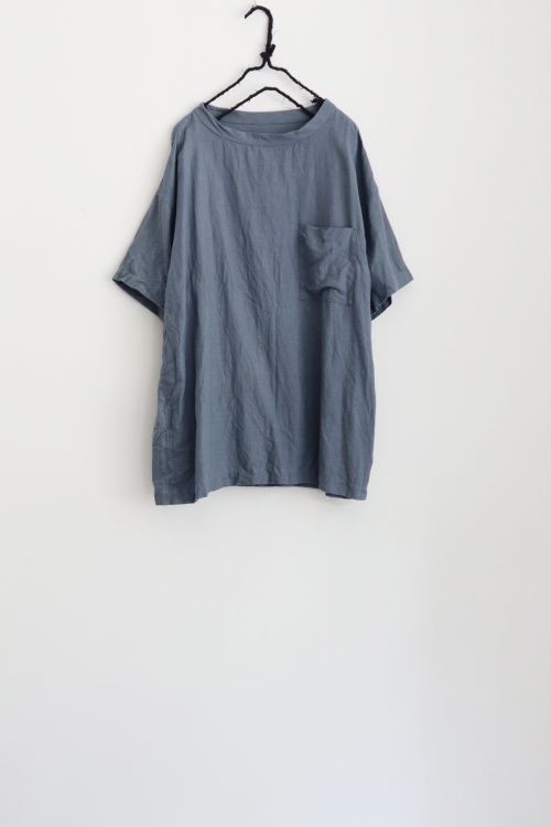 Linen Big T-Shirt Blue Grey by Toujours-S