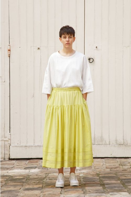 Cotton and Silk Skirt Sandrine Yellow by Ecole de Curiosites