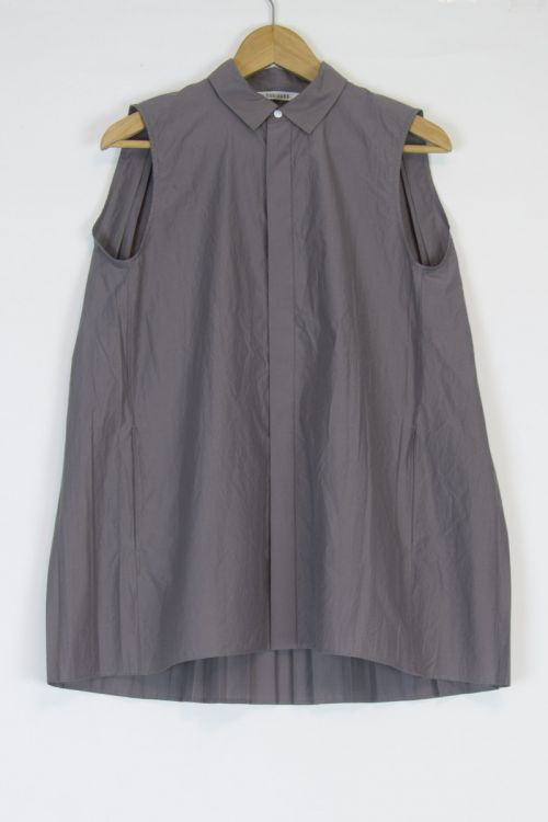 Sleeveless Back Pleated Long Shirt Taupe by Toujours