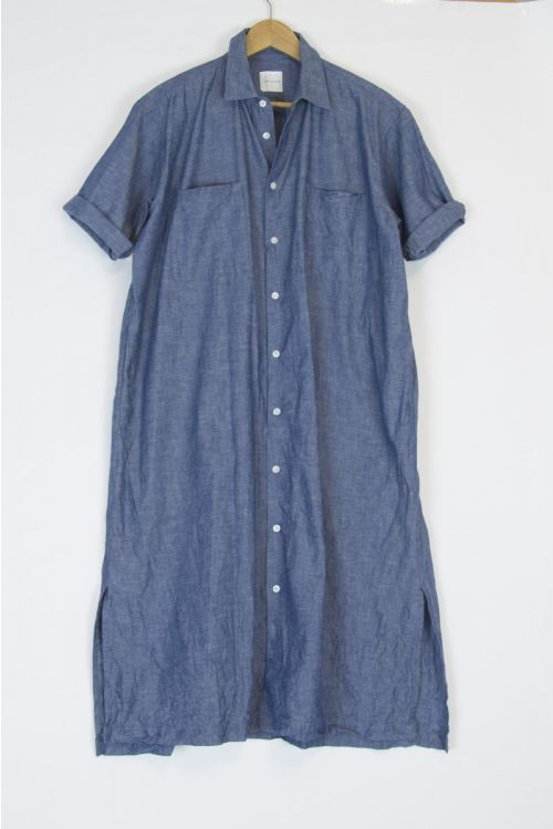 Loose Fit Half Sleeve Shirt Dress Indigo Blue by Toujours