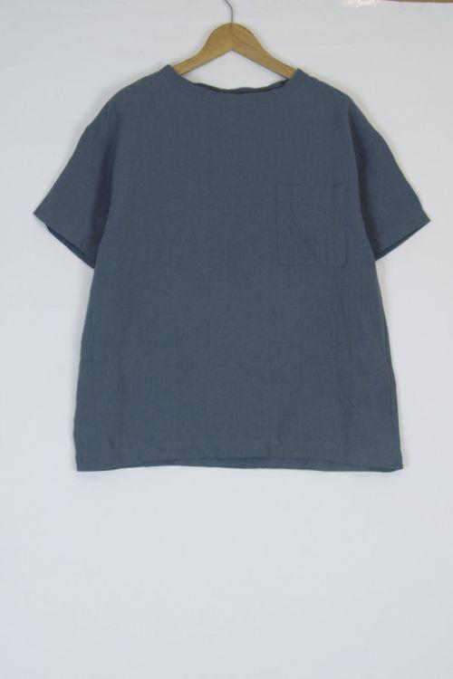 Linen Big T-Shirt Blue Grey by Toujours