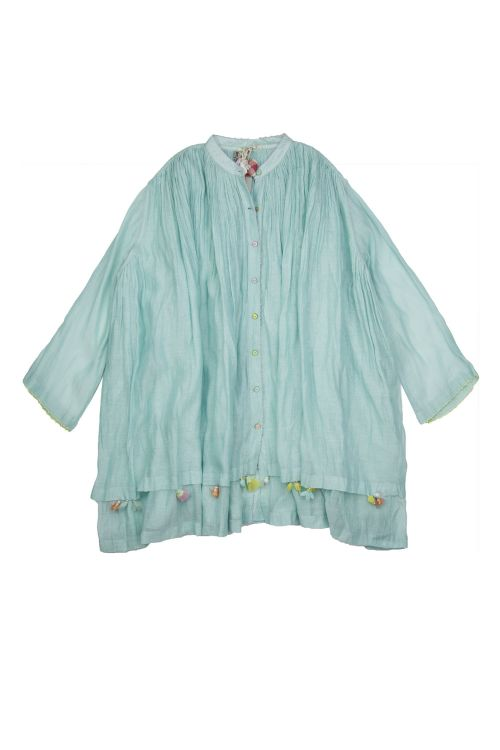 Cotton and Silk Oversized Shirt with Beaded Flowers by Pero-S