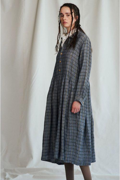 Shirt Dress Vintage Check Gray Ochre by Vlas Blomme