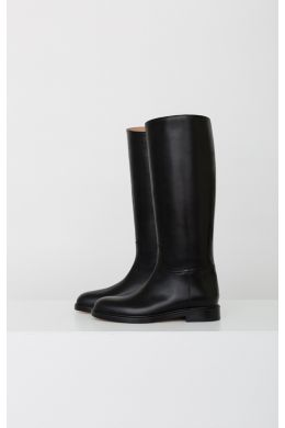 Leather Knee-High Riding Boots Black by LEGRES