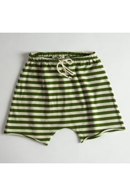 Baby Jersey Shorts Green/Ecru Stripes by Babe & Tess