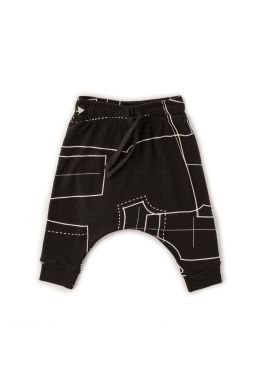 Baby Baggy Pants with Sewing Pattern Print Black by nununu