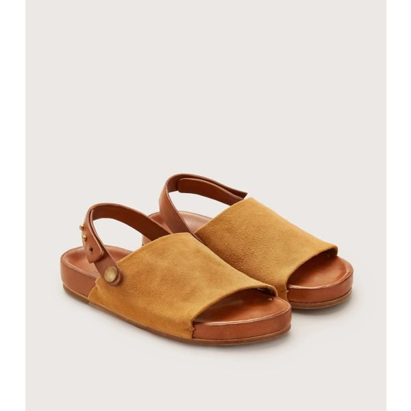 One Strap Leather Sandal Tan by Feit