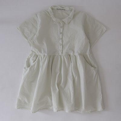Light Cotton Canvas Collar Dress Chalk by Album di Famiglia
