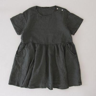 Linen Dress Dana Olive by Album di Famiglia