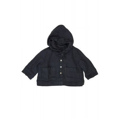 Linen Baby Jacket with Hood Miche Navy by Album di Famiglia