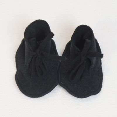 Soft Jersey Baby Booties Charcoal by Album di Famiglia-3M