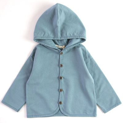 Baby Hooded Cardigan Azur by Babe & Tess-3M