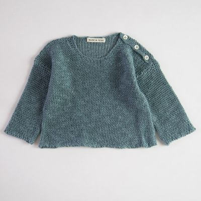 Baby Cotton and Linen Knitted Pullover Azur by Babe & Tess-3M
