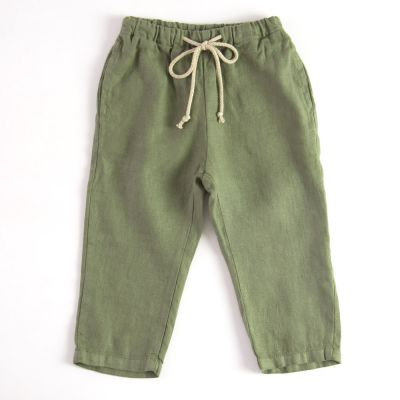 Baby Linen Trousers Green by Babe & Tess-3M
