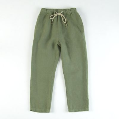 Linen Trousers Green by Babe & Tess-4Y