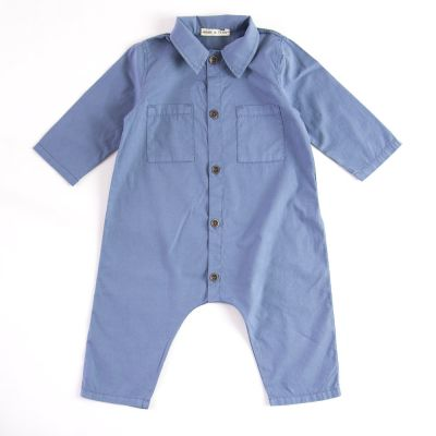 Baby Button Overall Blue by Babe & Tess-3M