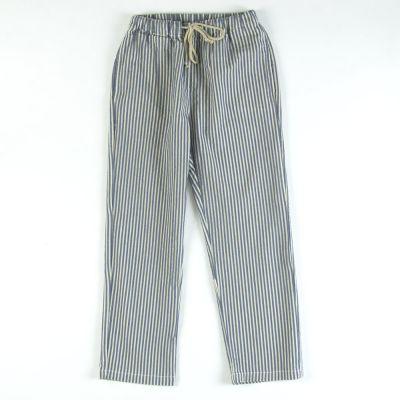 Cotton and Linen Pants Blue/Ecru Stripes by Babe & Tess
