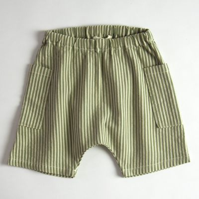 Baby Shorts Green/Ecru Stripes by Babe & Tess-3M
