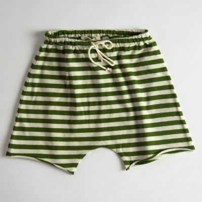 Baby Jersey Shorts Green/Ecru Stripes by Babe & Tess-3M