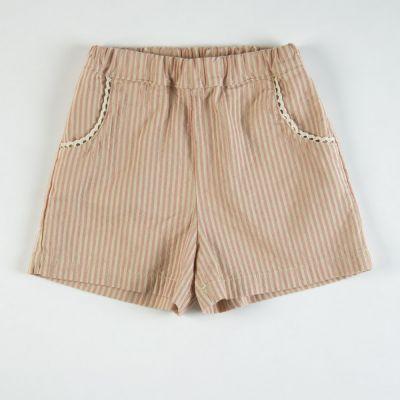 Baby Shorts Rose/Ecru Stripes by Babe & Tess