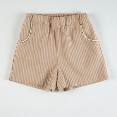 Baby Shorts Rose/Ecru Stripes by Babe & Tess-3M