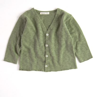 Baby Cotton Cardigan Khaki by Babe & Tess-3M