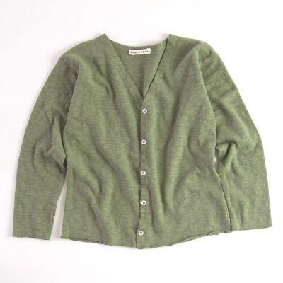 Cotton Cardigan Khaki by Babe & Tess-4Y