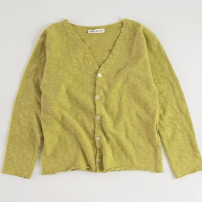 Cotton Cardigan Mustard by Babe & Tess-4Y