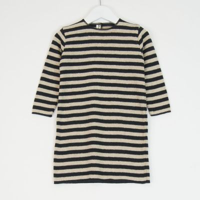 Baby Basic Dress Anthracite Natural Stripes by Babe & Tess-12M