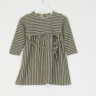 Baby Dress Green Natural Stripes by Babe & Tess-12M