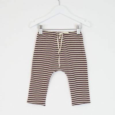 Baby Jersey Striped Pants Burgundy Natural by Babe & Tess-3M