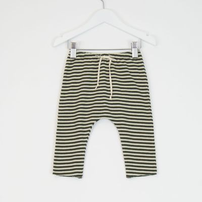 Baby Jersey Striped Pants Green Natural by Babe & Tess-3M
