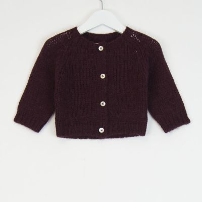 Baby Knitted Cardigan Burgundy by Babe & Tess-3M