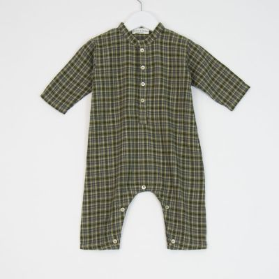 Baby Overall Check Green by Babe & Tess-3M