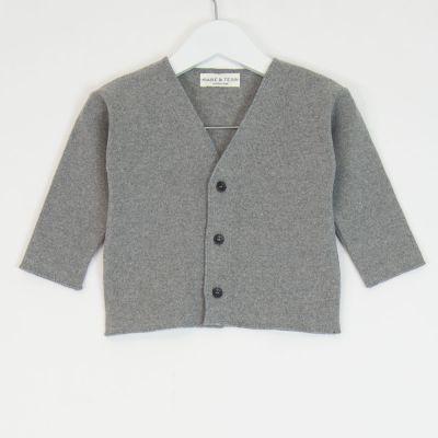 Baby Soft Jersey Cardigan Grey Melange by Babe & Tess-3M