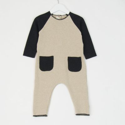 Baby Soft Jersey United Overall Anthracite Natural by Babe & Tess-3M