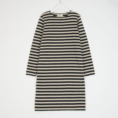 Basic Dress Anthracite Natural Stripes by Babe & Tess-3Y