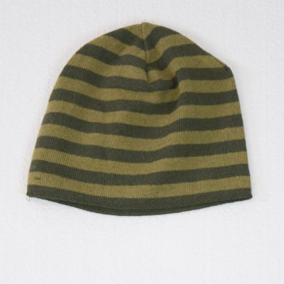 Basic Hat Green Lime Stripes by Babe & Tess-2Y