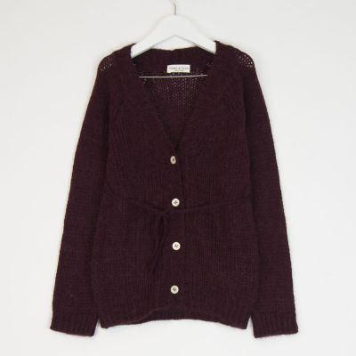 Knitted Cardigan Burgundy by Babe & Tess-4Y