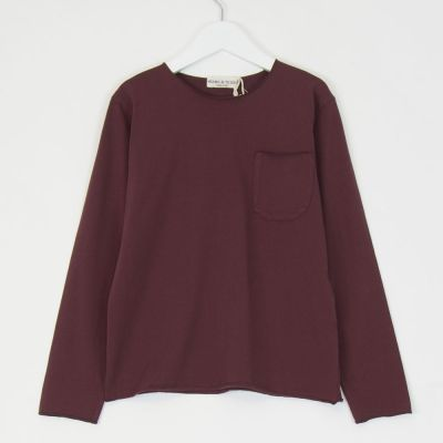 Pocket T-Shirt Burgundy by Babe & Tess-4Y