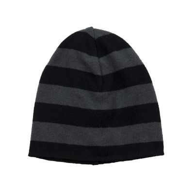Soft Jersey Baby Beanie Grey/Black Striped by Babe & Tess-3M