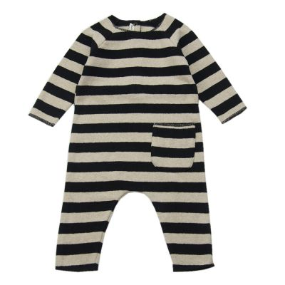 Soft Jersey Baby Overall Natural/Black Striped-3M