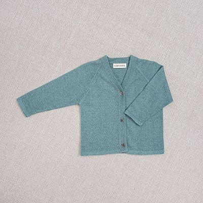 Baby Cotton and Silk Cardigan Teal by Ketiketa