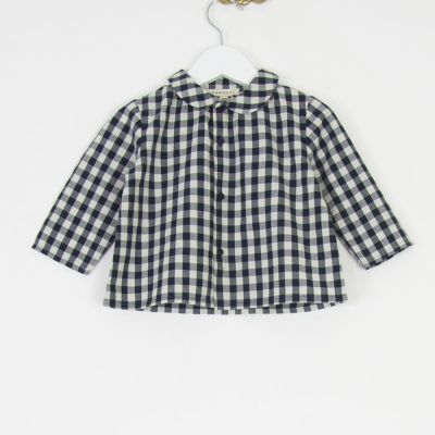 Baby Shirt Eos Blue Gingham Check by Caramel