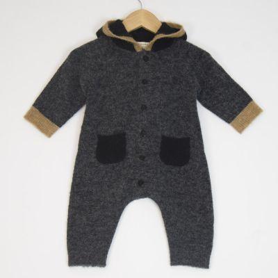 Baby Woolen Romper Odell Black Camel by Caramel-3M